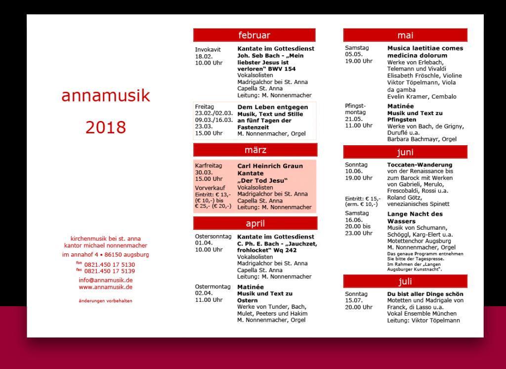 Annamusik Jahresprogramm 2018