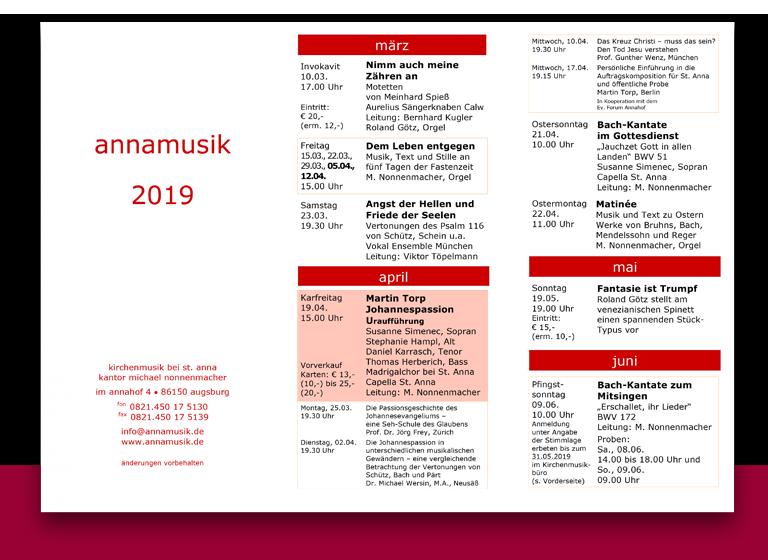 Annamusik Jahresprogramm 2019